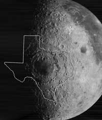 The Orientale Basin is an impact site approximately the size of the American state of Texas.