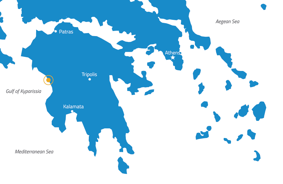 Figure 1: Map of Greece, with the position of the weather station indicated by a an orange circle.
