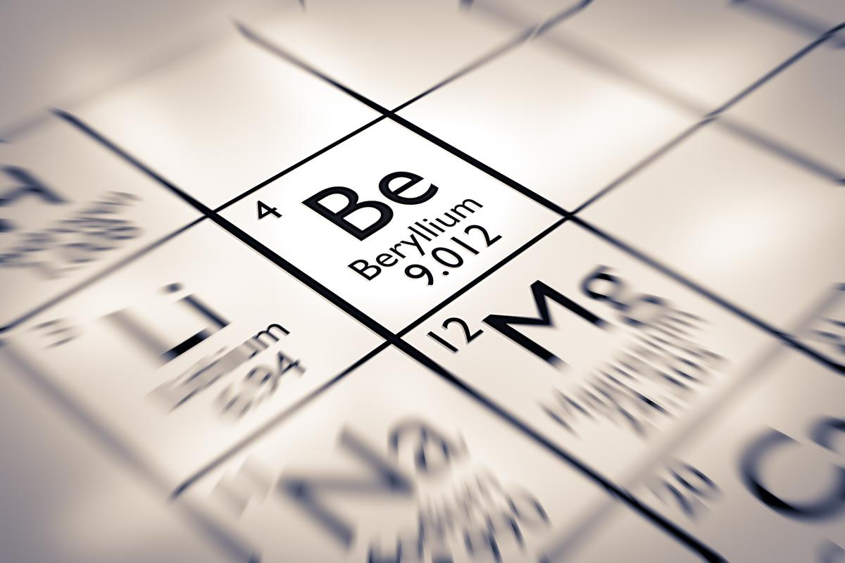 Beryllium (symbol Be), the fourth element in the periodic table