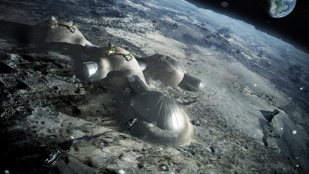 Artist's impression of a lunar base currently being constructed by ESA