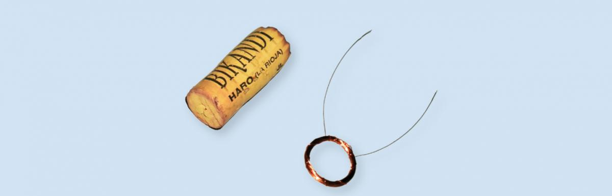 Figure 2: The coil for the loudspeaker is created by winding copper wire around a wine cork.