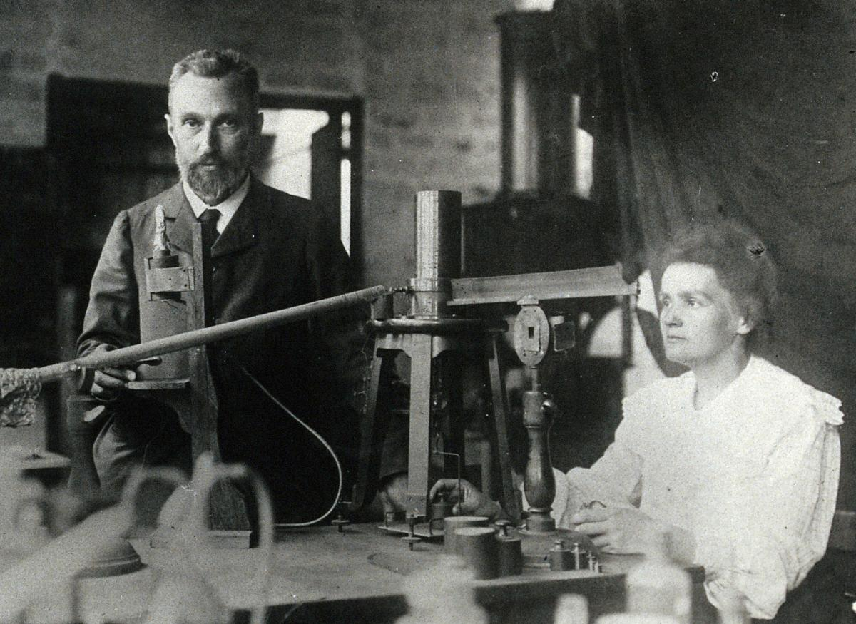 Marie and Pierre Curie in their workshop, c. 1900