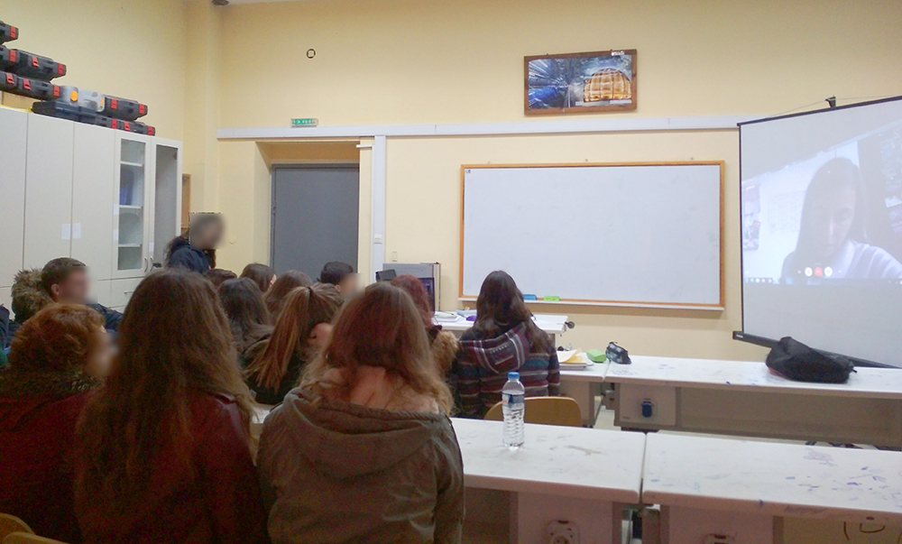 Students in the classroom talking to Evanthia Hatziminaoglou, a Greek astrophysicist calling from ESO in Germany