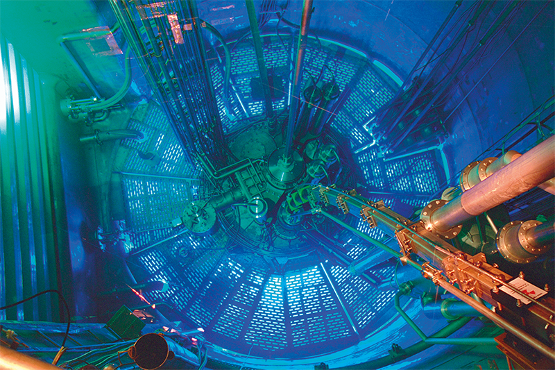 The high-flux reactor at ILL used to artificially produce Pm-147