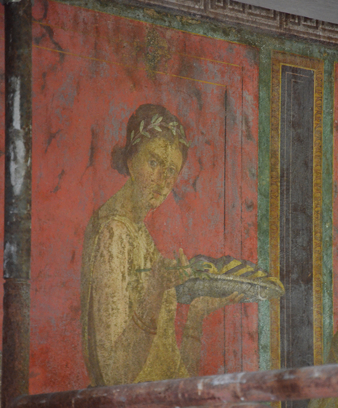 Wall fresco from Pompeii, showing some blackening of the natural red pigment cinnabar