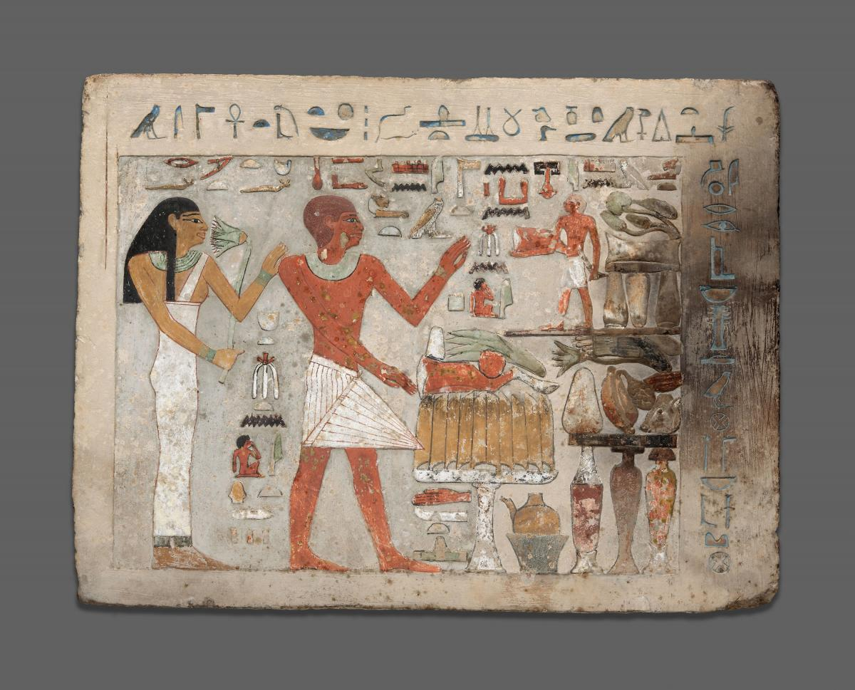 Amenemhat and his wife Hemet, c. 1900 BCE. Both the male and female figures depicted in this ancient Egyptian painting wear striking lead-based eye make-up.