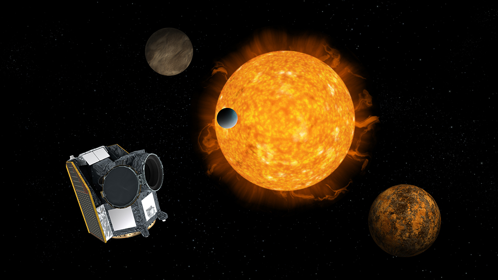 Artist's impression of CHEOPS, with an exoplanet system in the background