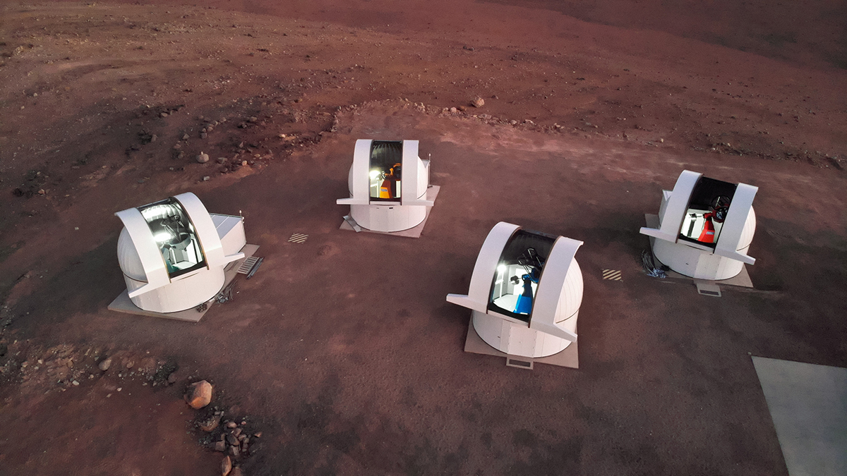 The four telescopes of the PECULOOS Southern Observatory, which will search for Earth-sized exoplanets