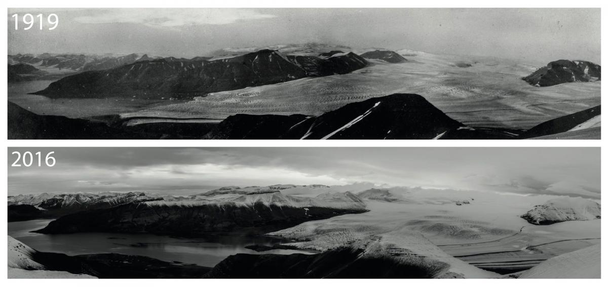 Figure 1: The Nordenskiöld Glacier, Svalbard in 1919 (top) and 2016 (bottom). The glacier has retreated over this time