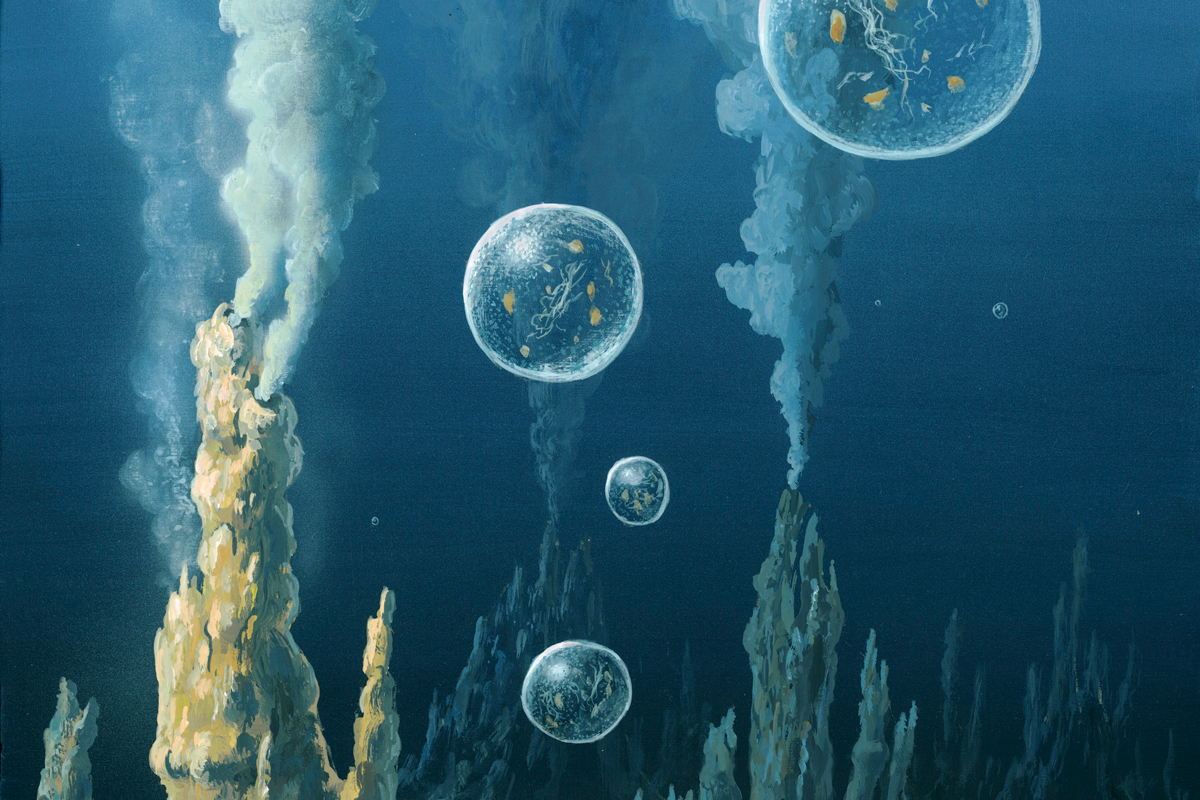 Artwork depicting the formation of protocells in the early history of life on Earth
