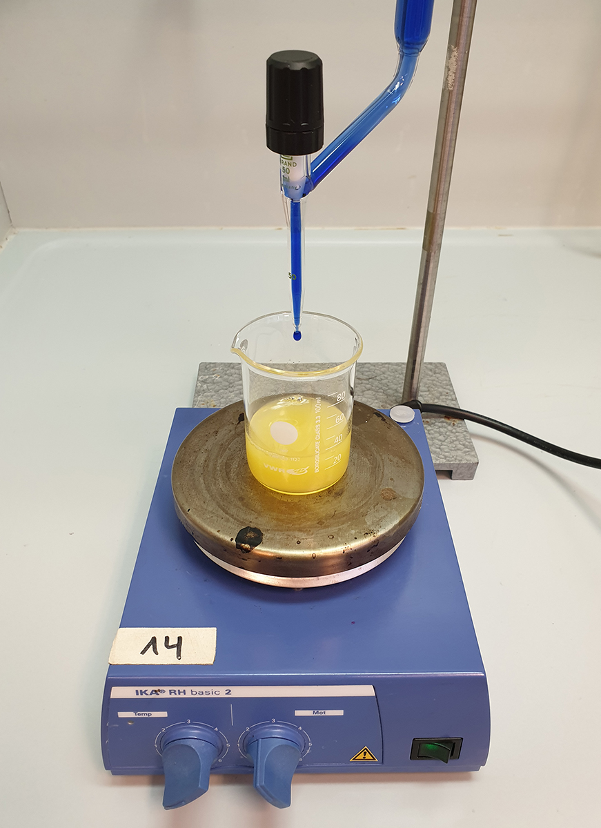 Carrying out the titration with orange juice