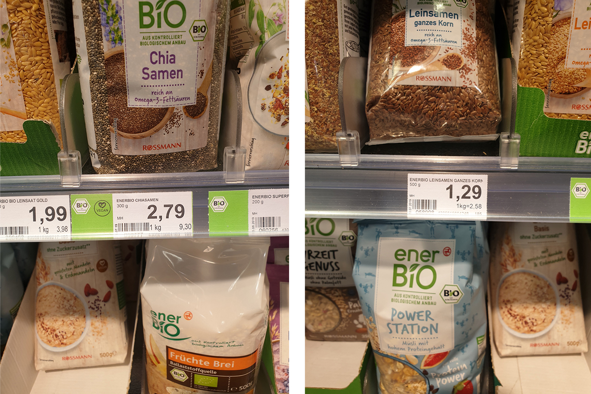 Chia seeds (left) and linseeds (right) on sale in a German supermarket, showing the price difference