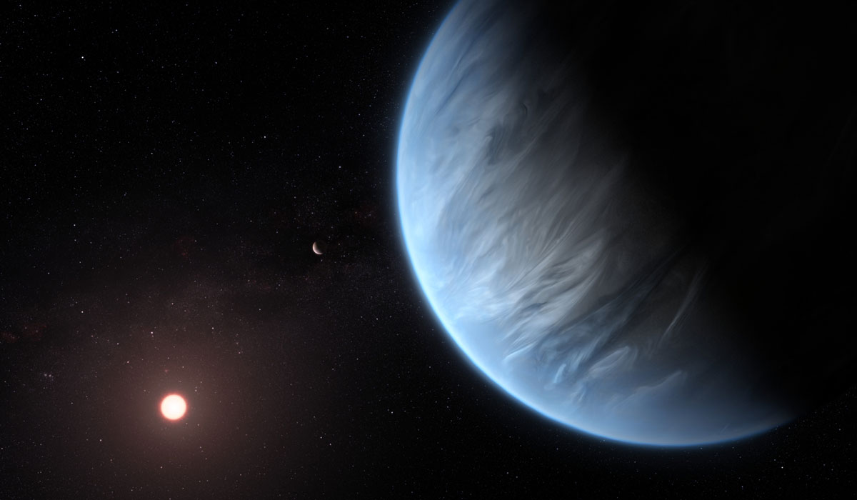 Artist's image of exoplanet K2-18b, which is known to have water and temperatures that could support life