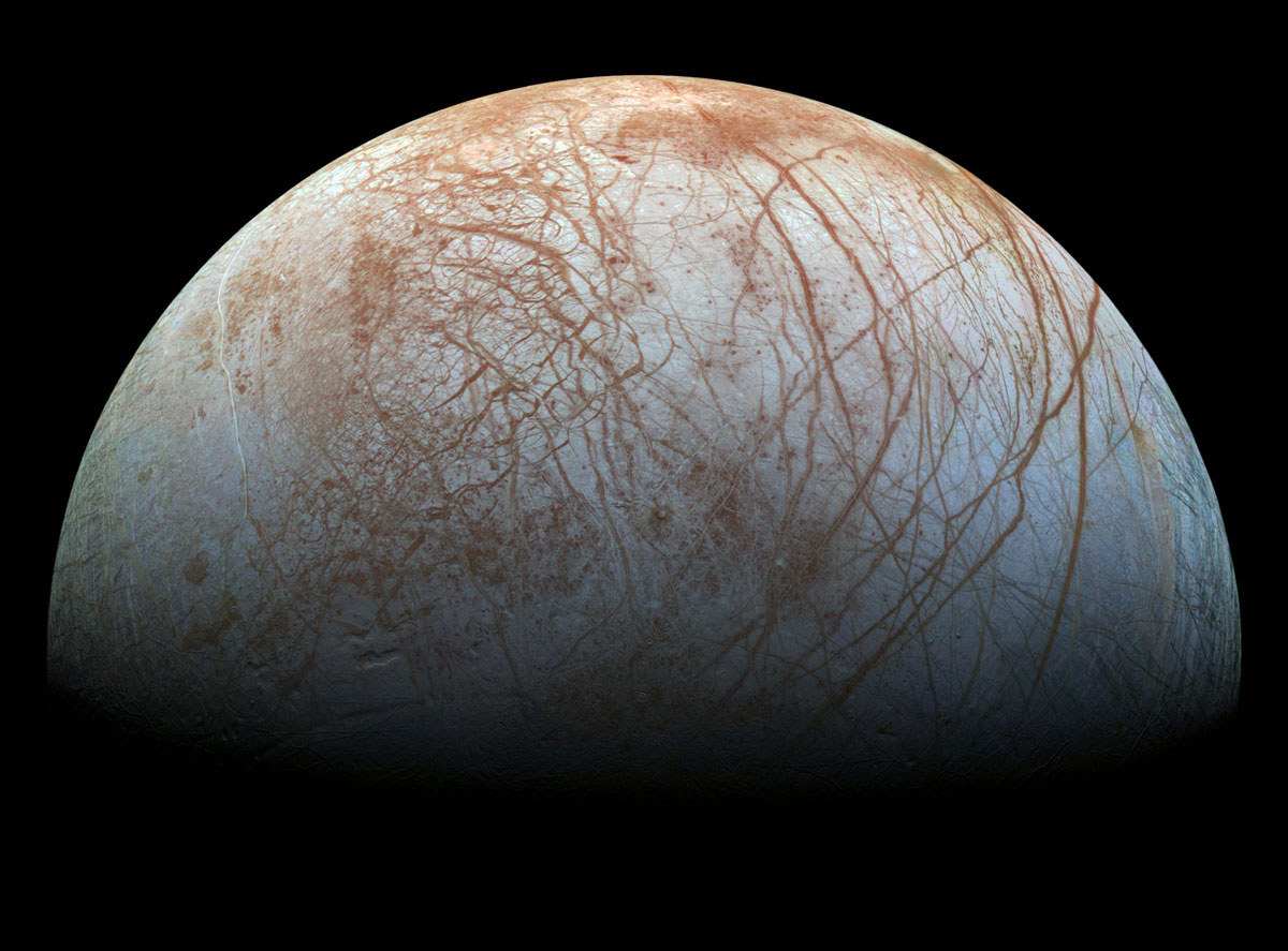 The icy surface of Jupiter's moon Europa, photographed by NASA's Galileo spacecraft. Blue or white areas contain relatively pure water ice.