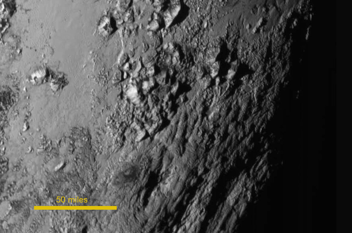 Image of Pluto's surface, showing mountains thought to be made of water ice, from NASA's New Horizons fly-by mission