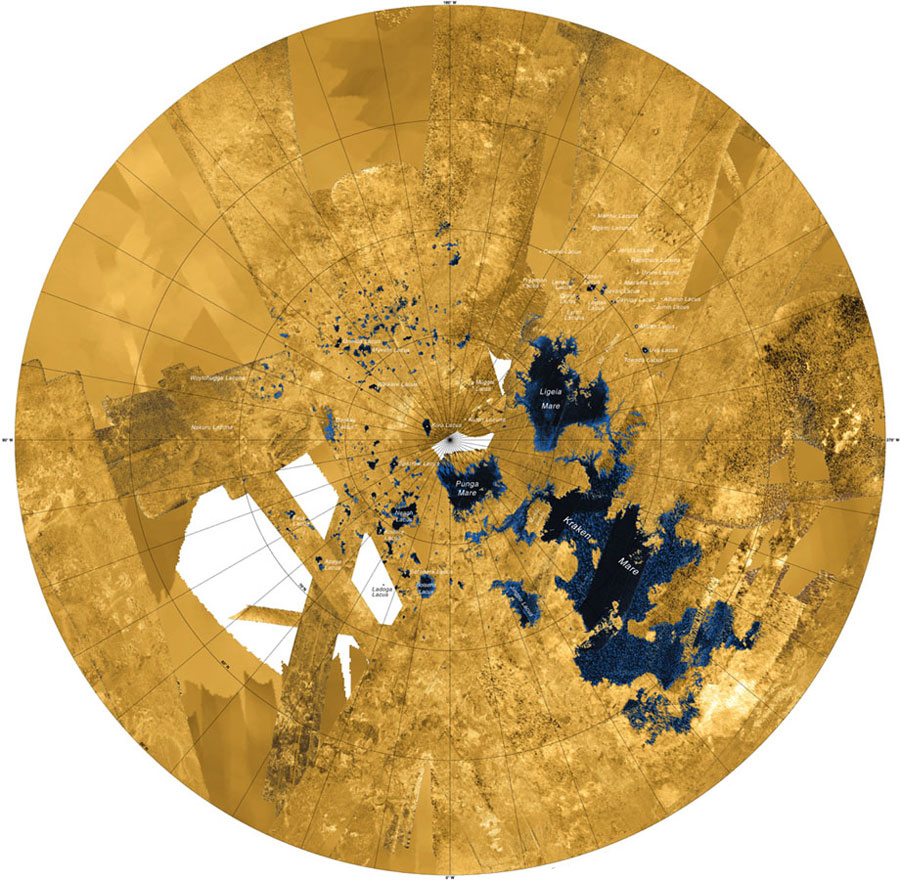 Mosaic image of Saturn's moon Titan, from NASA's Cassini-Huygens mission, showing (in blue/black) lakes and seas made up of liquid methane and ethane. Land areas appear yellow or white. NASA/JPL-Caltech/ASI/USGS