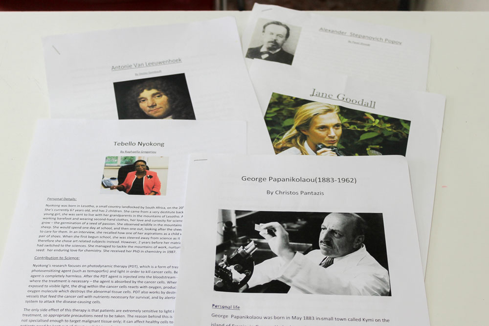 Some of the biographies created by students