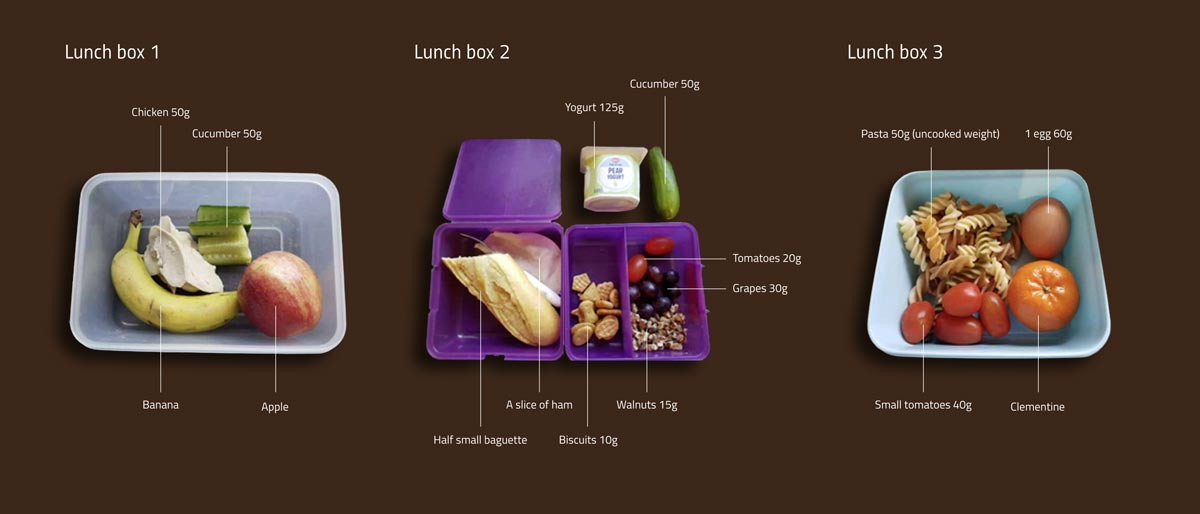 Figure 1: Some sample lunch boxes: can students work out the water footprint of each?