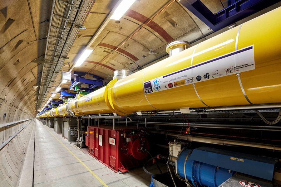 Yellow tubes in which electron are accelerated in the European XFEL tunnel.