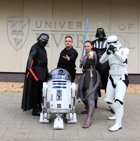 Professor Welsh and members of his research group at The Cockcroft institute dressed as Star Wars characters.